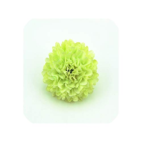 50pcs 5cm Silk Carnation Artificial Pompom Flower Head Hydrangea Home Wedding Decoration,Light Green -