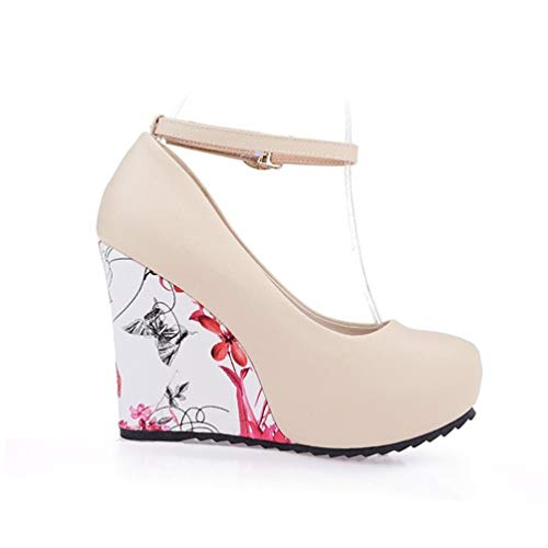 Imprimer Beige Hauts Coin Wedges Femmes Fleur Pour forme De Mode Élégante D'été Pompes Mariage Talons Plate Chaussures Les O4FxwTSnqO