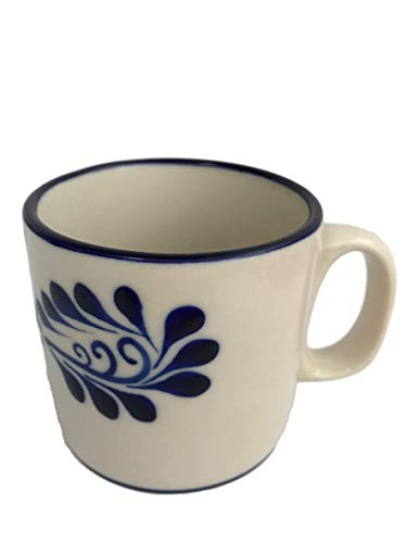 Talavera Mug - Hand Painted Mexican Coffee Mug - Authentic Mexican Pottery - Classic Colonial White ()