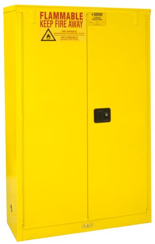 Durham FM Approved 1045M-50 Welded 16 Gauge Steel Flammable Safety Manual Door Cabinet, 2 Shelves, 45 gallons Capacity, 18