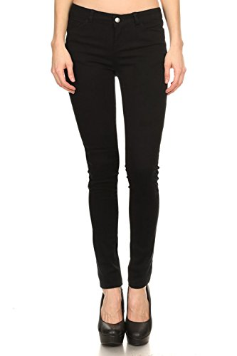 Vialumi Women's Solid Colored Five Pocket Skinny Jeans Stretch Pants Black 1