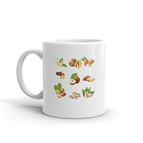 Set Icons Of Nuts Hazelnut Water Mug Ceramic Cup 11 Oz