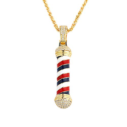 TENG LAI Men's New Mini Barber Shop Pendant Necklace, Can Be Opened-Gold