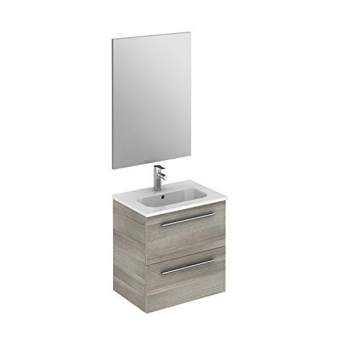 """ROYO Set 20"""" Street – Modern Bathroom Vanity (Sink + Mirror + Unit Side) Sandy Grey – 2 Drawers"""