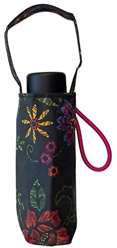 Totes Micro Mini Manual Umbrella, NeverWet technology, Purse Umbrella, Colorful Flowers on Black, 38″ arc Coverage
