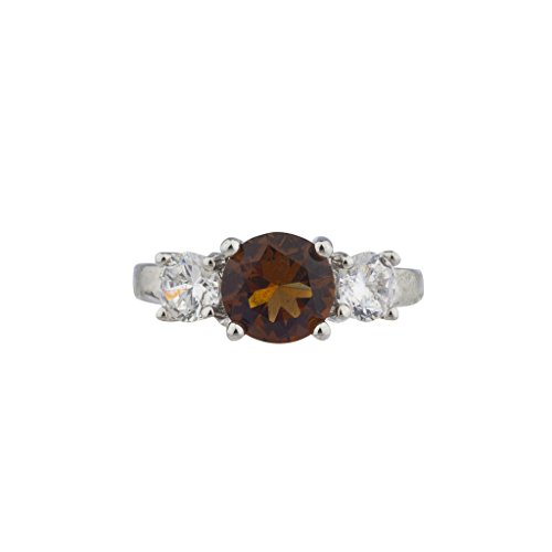 Lux Accessories IR Sterling Silver Chocolate 3 Stone Engagement Ring Sz6 (Sterling Chocolate)