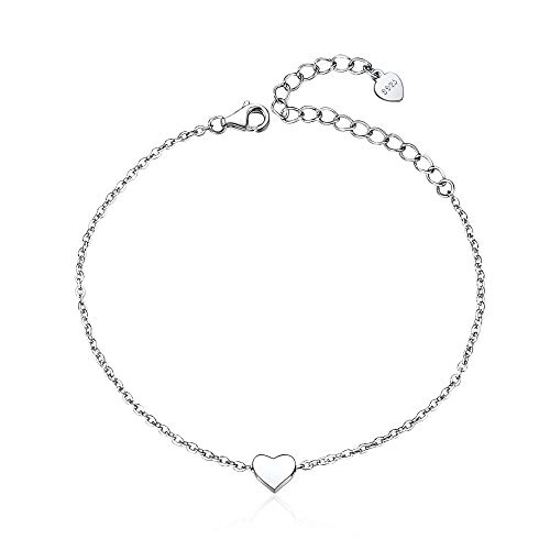 ChicSilver Tiny Heart Love Bracelet for Women Girls, 925 Sterling Silver Fashion Adjustable Charm Bracelet, Gift for Mother's Day