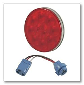 """Grote 53342 Red SuperNova 4"""" 10-Diode Pattern LED Stop Tail Turn Lights (Male Pin (53252 + 66830))"""