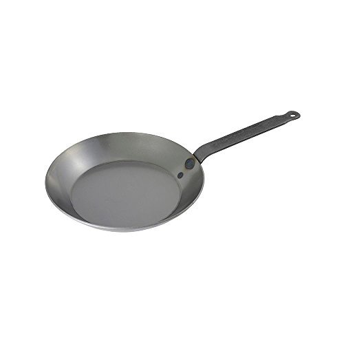 Matfer Bourgeat 062003 Black Steel Round Frying Pan, 10 1/4-Inch, Gray
