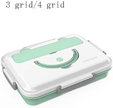 Kids Lunch Boxes Lunch Box Stainless Steel Lunch Box Portable 3 Grid 4 Grid Lunch Box Adult Student Lunch Box Food Storage Box Bento Boxes (Color : Green, Size : 4 grid)