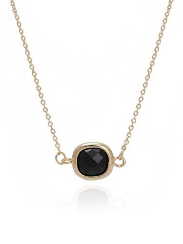 Crystal Square Pendant Necklace (BONALUNA Sparkled Square Crystal Pendant With Gold Plated Necklace)