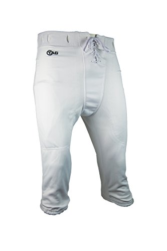 Adult Practice Football Pants - TAG Adult Slotted Football Pants X-Large (White) Waist (34.5-36.5in)