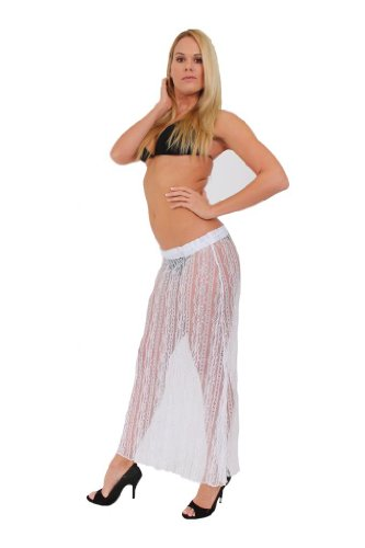 Gorgeous LACE Swimwear Cover up LONG SKIRT: White (MEDIUM)