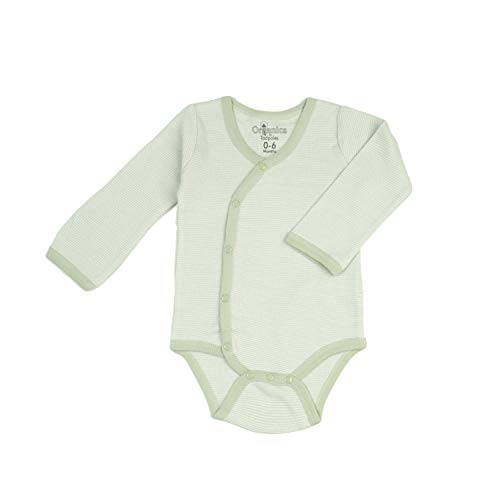 Tadpoles Organic Cotton Pin-Stripe Kimono-Style Bodysuit, 0-6 Months, Green