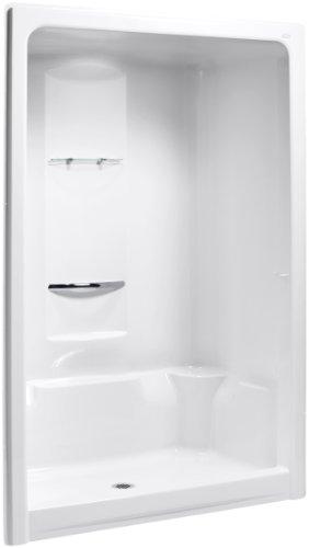 (KOHLER K-1688-0 Sonata 60-Inch x 36-Inch x 90-Inch Center Drain Shower Stall with Integral High-Dome Ceiling, White)