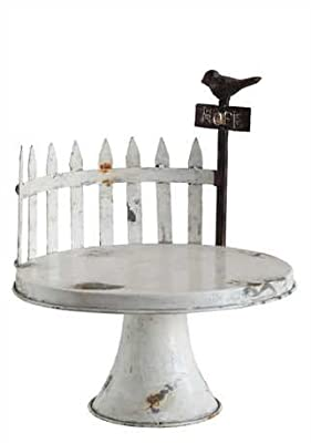 "12-1/2"" Round x 15""H Decorative Tin Pedestal w/ Fence & Bird, Distressed White Finish"