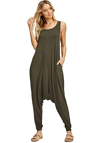 Annabelle Women's Pocketed Full Length Baggy Harem Plus Size Jumpsuit Cargo XXX-Large J8004P ()