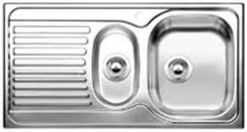 Acero inoxidable, 335 x 400 mm, 16 cm, 95 cm, 16 cm, 50 cm Fregadero de dos senos BLANCO TIPO 6 S BASIC