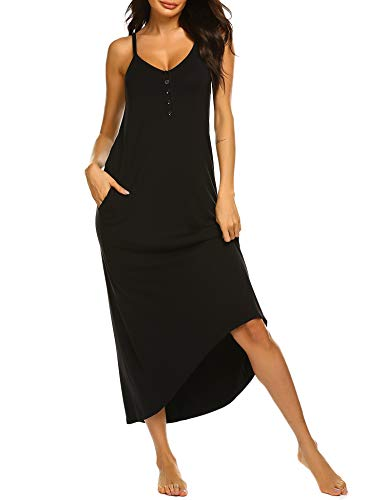 Ekouaer Full Length Nightgown Maxi Loungewear with Pocket Button Down Sleepshirt for Women Black