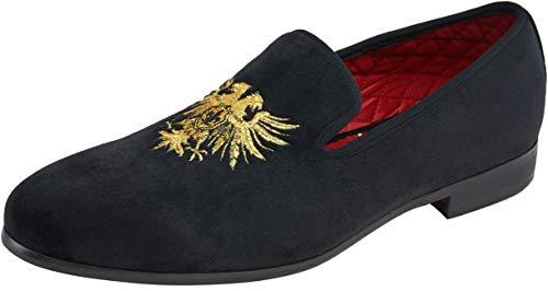 JOUSEN Men's Loafers Velvet Smoking Slipper Gold Embroidery Slip On Men Wedding Dress Shoes (Gold Embroidery,10)]()