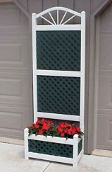 Sunburst Lattice Trellis - Dura-Trel 11153 Large Lattice Planter, Green