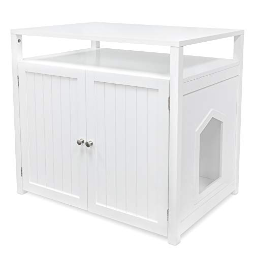 Arf Pets Cat Litter Box Enclosure, Furniture Large Box House with Table, White