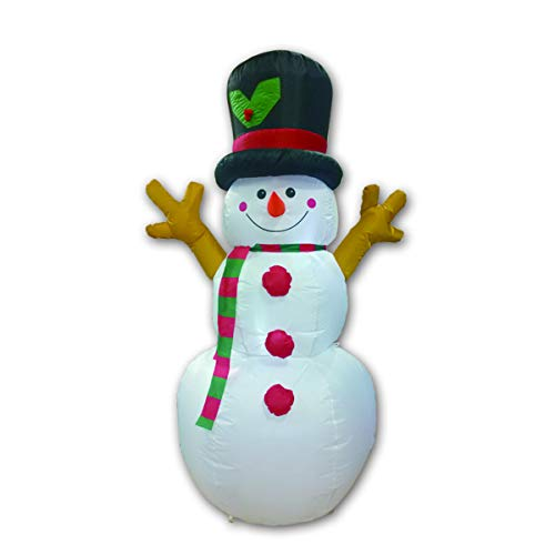 GMELLC Christmas Masters 5Foot Tall Inflatable Snowman with Branch Hand LED Lights Indoor-Outdoor Yard Lawn Decoration - Cute Fun Xmas Holiday Blow Up Party Display