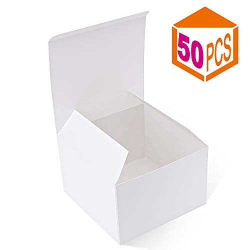 MESHA Recycled Gift Boxes 6x6x4 Inches White Gloss Paper Boxes Kraft Favor Boxes for Party, Wedding, Gift (50) ()