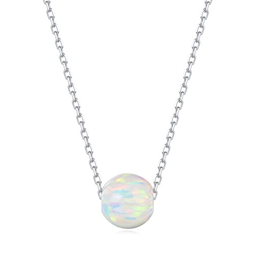 Carleen 18K White Gold Plated 925 Sterling Silver Created Opal/Turquoise/Marble Dainty Pendant Necklace for Women Girls