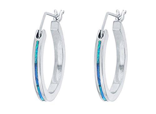 Sterling Silver Created Blue Opal Inlay Hoop Earrings ()