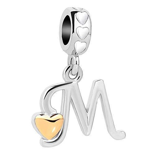 Daisy Jewelry Heart Letter Initial Charm Bead for Bracelets (M)
