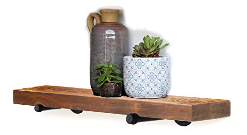 (Floating Wall Shelf with Industrial Pipe Brackets, Solid Wood, Rustic Wall Mounted Shelving Storage, Farmhouse Wall Décor, 24