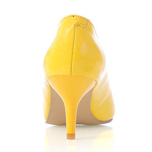Coolcept Mujer Puntiagudo Bombas Zapatos Tacon de Aguja Yellow