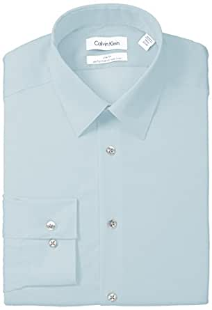 "Calvin Klein Men's Slim Fit Non-Iron Herringbone Point Collar Dress Shirt, Mint Julip, 17.5"" Neck 36""-37"" Sleeve"