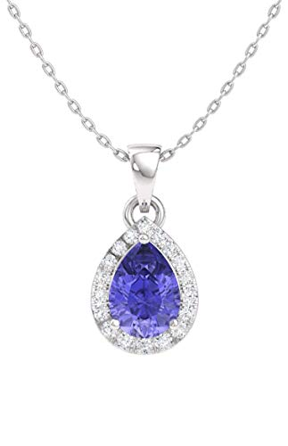 Diamondere Natural and Certified Pear Tanzanite and Diamond Halo Drop Petite Necklace in 14k White Gold | 0.33 Carat Pendant with Chain