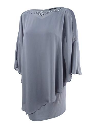 (SLNY Women's Plus Beaded Trim Poncho Shift Dress Grays )