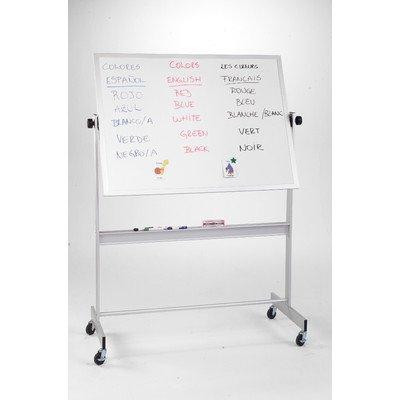 Aluminum Reversible Markerboard Chalkboard - Free Standing Reversible Whiteboard, 4' x 6' Surface Material: Dura-Rite Markerboard & Natural Cork, Frame Finish: Aluminum