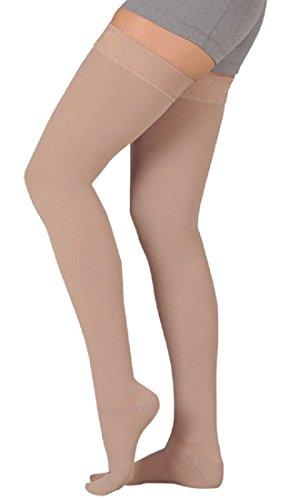 (Juzo Soft 15-20 mmHg Knee High, Full Foot (Closed Toe), Silicone Border (IV, CHOCOLATE))