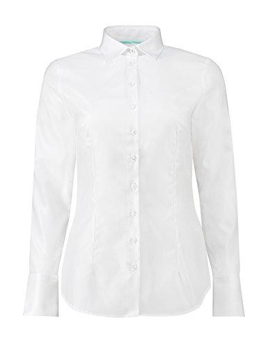 88947b198b3e9 HAWES   CURTIS Womens Fashion Basic White Cotton Office Shirt Fitted ...