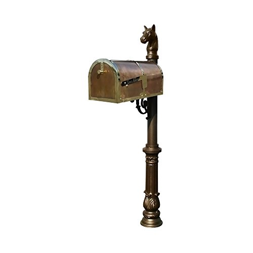 Provincial Collection Brass Mailbox in Polished Brass with decorative Lewiston post, #7 Ornate base and #1 Horsehead finial in Bronze