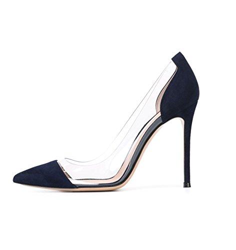 DYF Plush Sharp Dark Women cm Fine Transparent Blue 10 heel High Shoes Nude Office 34 RrxRqZ