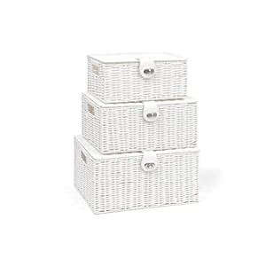 Arpan Set of 3 Resin Woven Storage Basket Box with Lid & Lock (White)