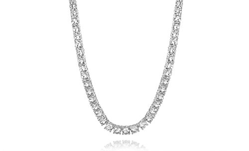 New Womens Magnificent 4mm Round Cubic Zirconia Tennis Necklace … (Sterling Silver Cubic Zirconia Necklace)