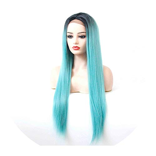 Ombre Turquoise Synthetic Lace Front Straight Wig Middle Part Heat Resistant Fiber Black Roots to Pastel Blue Women Wig,Turquoise Shadow,150%,Lace Front,22inches ()