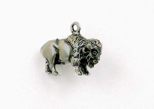 Sterling Silver 3-D Bison or Buffalo Charm - Jewelry Accessories Key Chain Bracelet Necklace Pendants -