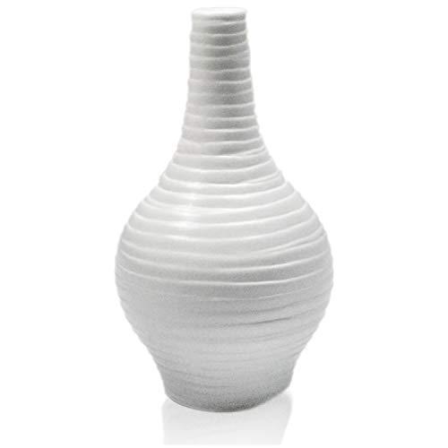CinMin Ceramic Stoneware Vase, Ivory White Naree Pawn 7.5 in