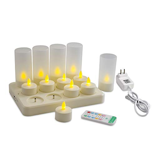 Happiness Light Safe Warm White Light DC Rechargeable Tea Light Candles with Holders(12pcs) Last 58 Hours! 10key Remote Control 2A 3.5 Hour DC Charging Base, Flameless Flickering ()