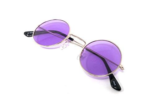 Púrpuras Retro Lunettes Oro Lentes de Classique Petit Lennon UV400 Femmes Unisexe Vintage Soleil John Rondes Qualité Style Elton Hommes Con Adultes RdxF5BqwR