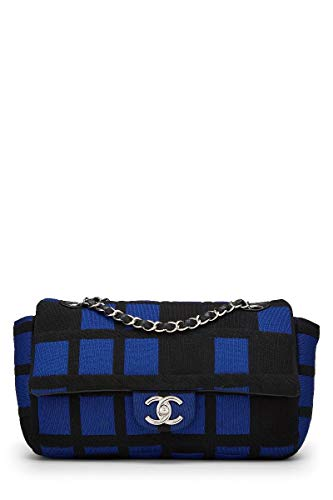 CHANEL Blue & Black Gingham Knit Half Flap Medium (Pre-Owned)