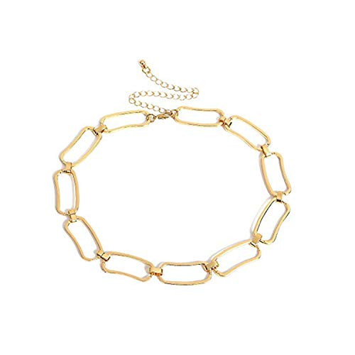 (Women Punk Retro Hollow Geometric Choker Necklace Link Chain Necklace Collares Jewelry (Gold))